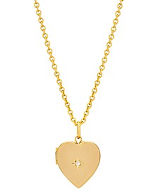 Gold Plated Small Heart Locket with Diamond Accent