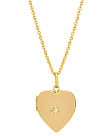 Gold Plated Large Heart Locket with Diamond Accent