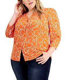 Plus Size Printed Puff-Shoulder Blouse, Created for Macy's