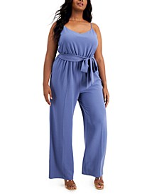 Plus Size Sleeveless Wide-Leg Jumpsuit, Created for Macy's