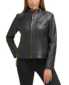 Petite Stand-Collar Leather Moto Coat, Created for Macy's