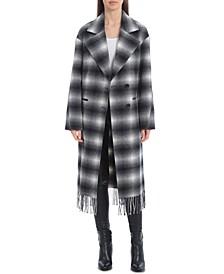 Plaid Fringe-Trim Walker Coat
