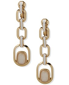 Gold-Tone Mother-of-Pearl & White Inlay Link Clip-On Linear Drop Earrings