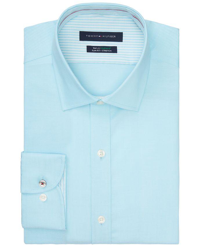 Tommy Hilfiger - Men's Slim-Fit Non-Iron TH Flex Performance Stretch Solid Dress Shirt