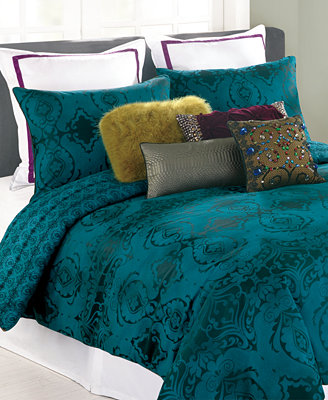 Closeout Nanette Lepore Villa Teal Baroque Comforter And
