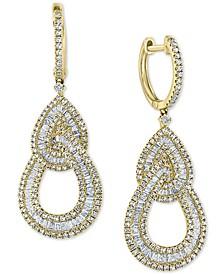 EFFY® Diamond Baguette Interlocking Teardrop Drop Earrings (1-5/8 ct. t.w.) in 14k Gold