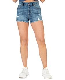Juniors' High Rise Distressed Jean Shorts