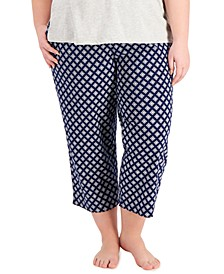 Plus Size Printed Cotton Capri Pajama Pants, Created for Macy's