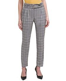 Plaid Paper-Bag Waist Belted Pants