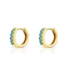 18k Gold Vermeil Pave Turquoise Huggie Hoop Earrings