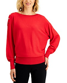 Dolman Button-Trim Sweater, Created for Macy's