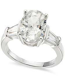 Silver-Tone Oval & Baguette-Cut Cubic Zirconia Ring, Created for Macy's
