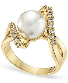 Gold Plated Pavé & Imitation Pearl Bypass Ring, Created for Macy's