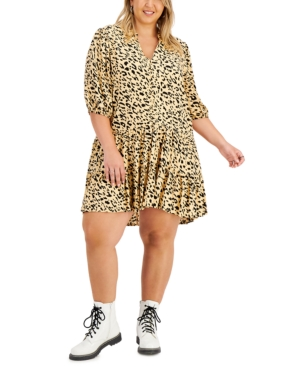 Trendy Plus Size Printed Tiered Dress