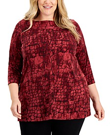 Plus Size Printed Boat-Neck Tunic, Created for Macy's