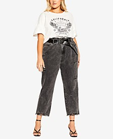 Trendy Plus Size Belted Straight-Leg Cropped Jeans