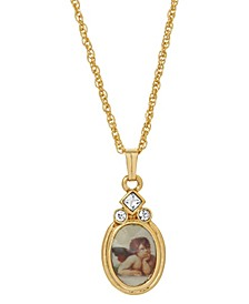 14K Gold Dipped Cherub Crystal Angel Decal Oval Pendant Necklace