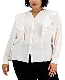 Plus Size Solid Ruffle-Trim Top, Created for Macy's
