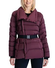 Stretch Belted Down Puffer Coat
