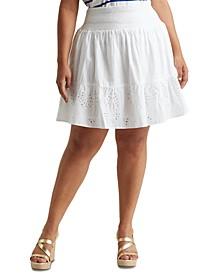 Plus-Size Eyelet Cotton Broadcloth Skirt