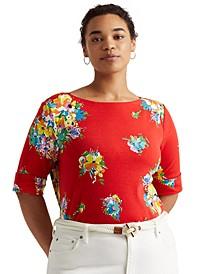 Plus-Size Floral Stretch Cotton Boatneck Top
