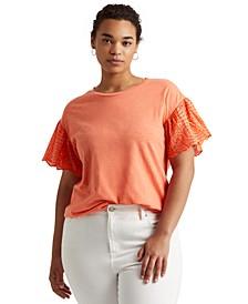 Plus-Size Slub Jersey Flutter-Sleeve Top