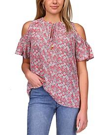 Floral-Print Cold-Shoulder Top, Regular & Petite Sizes