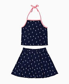 Big Girls All Over Print Halter Top and Skirt Set