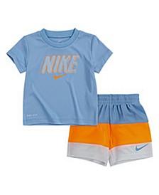 Little Boys Dri-Fit T-shirt and Blocked Short Set, 2 Piece