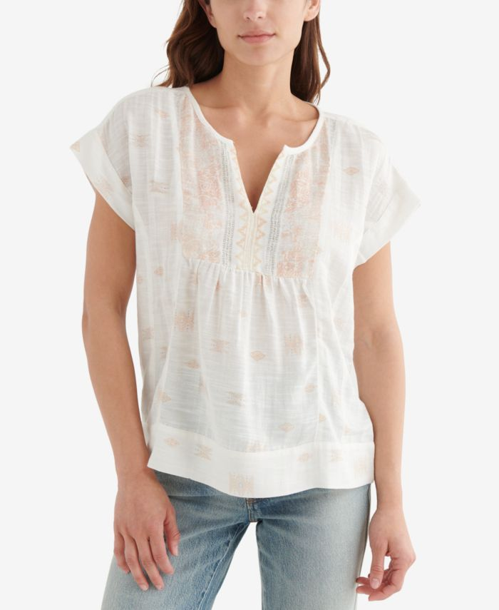 Lucky Brand Printed Peasant Top & Reviews - Tops - Women - Macy's