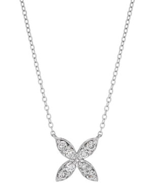 """Lab-Created Diamond Flower 18"""" Pendant Necklace (1/2 ct. t.w.) in Sterling Silver"""