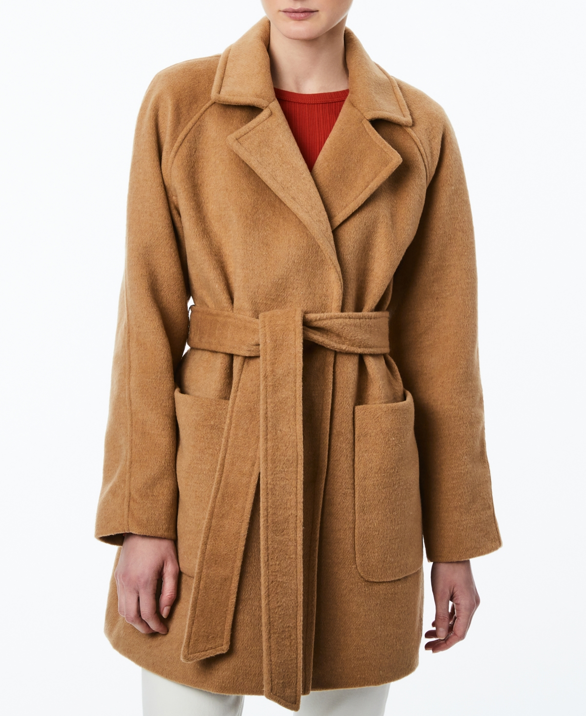 Collection B Juniors' Single-Breasted Belted Wrap Coat