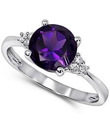 London Blue Topaz (2-1/4 ct. t.w.) & Diamond (1/20 ct. t.w.) Ring in 14k White Gold (Also in Amethyst & Rhodolite Garnet)