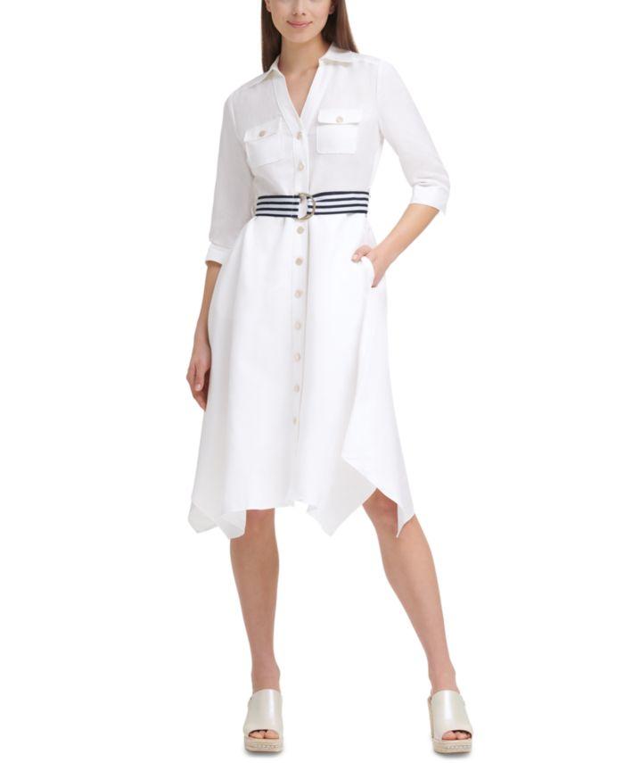 Karl Lagerfeld Paris Linen Belted Asymmetrical-Hem Shirtdress & Reviews - Dresses - Women - Macy's
