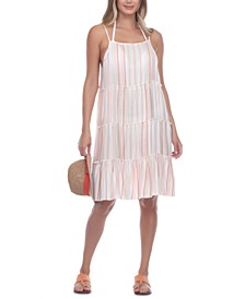 Tiered Striped Cover-Up Dress