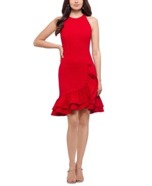 Ruffled Scuba Crepe Fit & Flare Dress