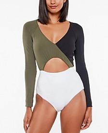 Block Party Long-Sleeve Bodysuit Swimsuit