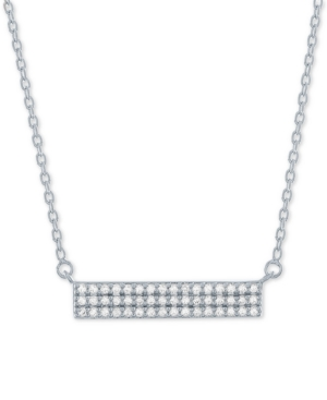 Lab-Created Diamond Cluster Bar Necklace (1/4 ct. t.w.) in Sterling Silver
