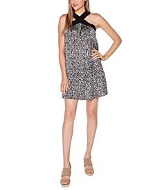 Black Label Petite Printed Halter Dress with Ruffle Hem