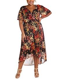 Plus Size Floral-Print Faux-Wrap Dress