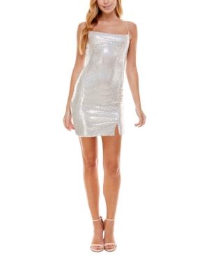 Juniors' Disco Dot Cowlneck Slip Dress