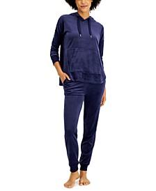 Velour Hoodie & Pants Pajama Set, Created for Macy's