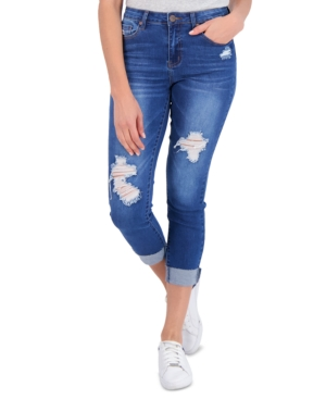 Juniors' Distressed Roll-Cuff Jeans