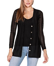 Black Label Striped Long Sleeve Button-Front Cardigan