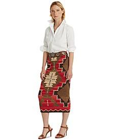 Petite Southwestern-Print Skirt