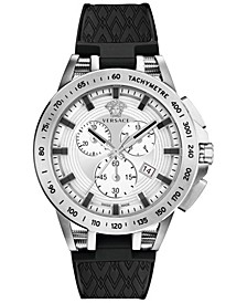Men's Swiss Chronograph Sport Tech Black Silicone Strap Watch 45mm