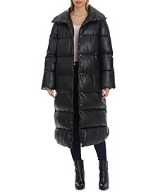 Faux-Leather Puffer Maxi Coat