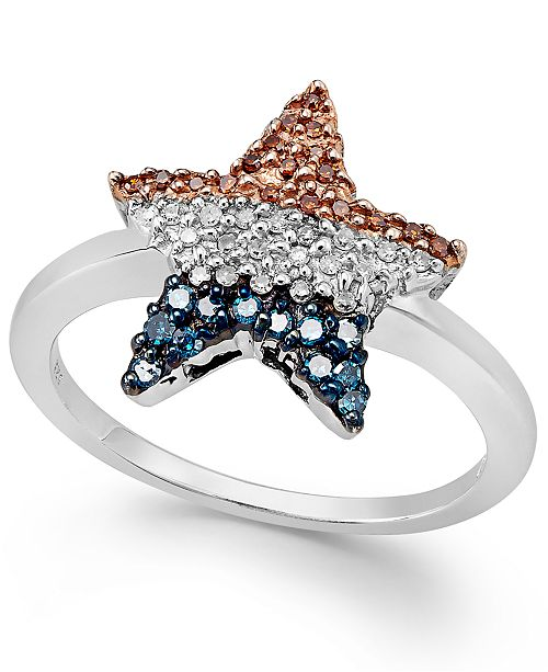 Macy's Diamond Flag Star Ring in Sterling Silver (1/4 ct. t.w.)