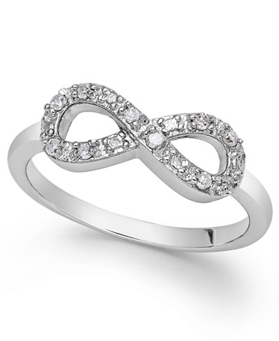 Diamond Infinity Ring In Sterling Silver 1 10 Ct Tw