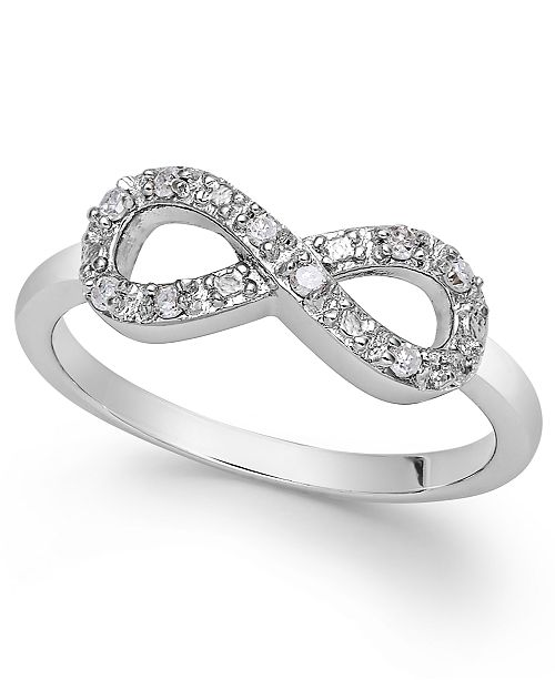 Macy's Diamond Infinity Ring in Sterling Silver (1/10 ct. t.w.)